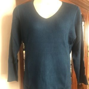 Lane Bryant Teal Ribbed Sweater New